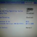 Hyper Threading機能の制御項目の表示。HT無しのCPUの時は表示されていなかった。