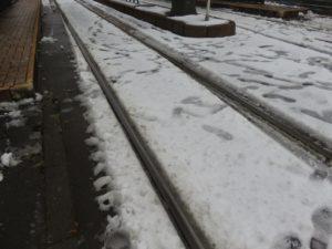 電停近くの路面もこの通り。