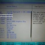 CPU交換後のBIOS設定画面。FSBが800となっている(交換前は533)。