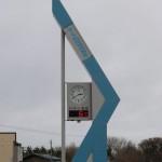 道の駅の時計と温度計