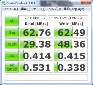 USB3.0接続HDDのベンチ結果