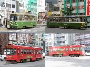 左側はLED化されたM101号車と8502号車。それぞれ右側はLED化前の写真