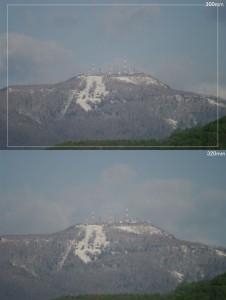 300mmと320mmの画角の違い。300mmの白い枠内が概ね320mの画角。