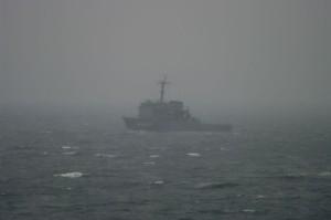 津軽海峡で見かけた海上自衛隊の多用途支援艦「すおう」